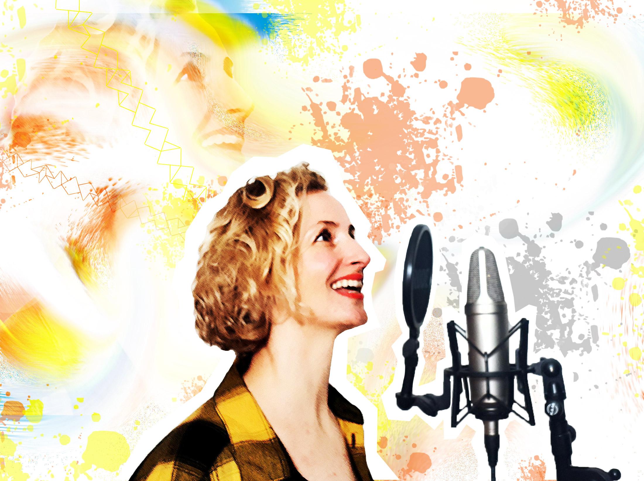 Freisteller von Spoken Word Artist Monika Mertens bei Studioaufnahmen, welcher in einen bunten Hintergrund gesetzt ist.