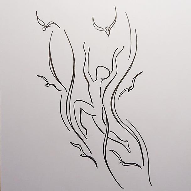 Zeichnung der Künstlerin V